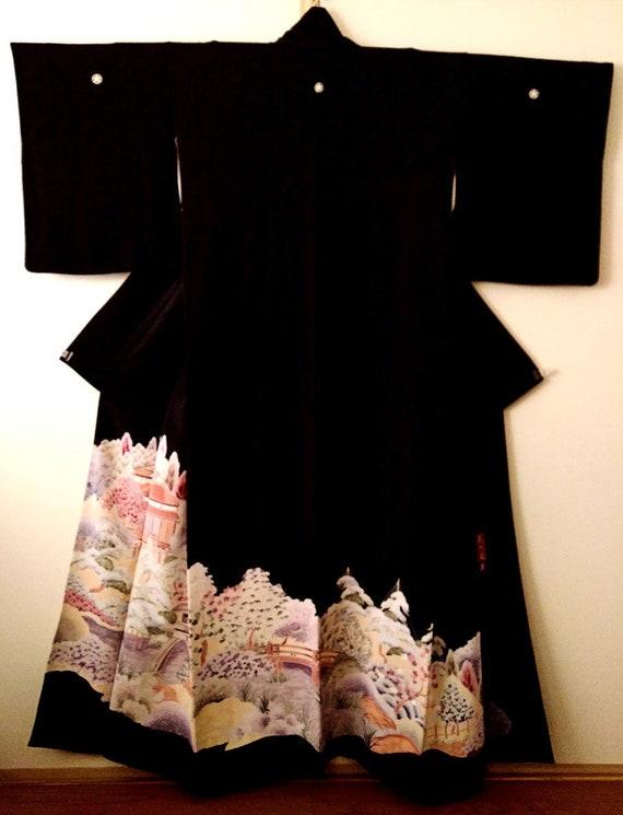 Vintage kimono Japanese kimono black silk kimono T