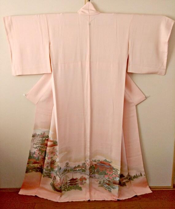 Vintage kimono Japanese kimono coral pink silk kim