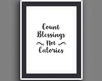 Count Blessings, Kitchen Humor, Modern Kitchen Art, Gifts for Foodies, Foodie Gifts, Food Word Art Print, Instant Download