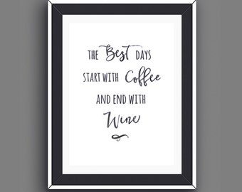 Boyfriend Gifts, Girlfriend Gifts, Foodies Coffee, Wine Prints, Cafe Gifts, Husband Kitchen Wall Art, Instant Download