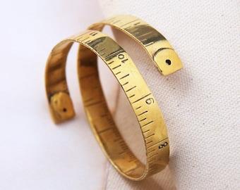 Gold Measure Tape bangle,Gold Measure Tape Cuff,Gold Measure Tape Bracelet,Gold Textured Measure Tape HandCuff,Measure Tape Cuff