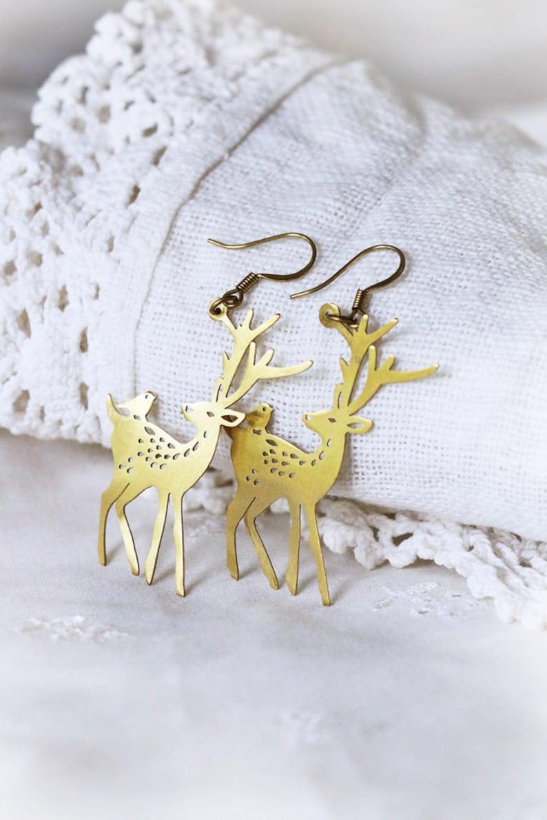 Deer and Bird Wire Earring  Brass wire earring  Linen Jewelry  Everyday Jewelry  Golden Wire Earring