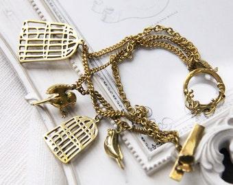 Vintage Styles Birdcages and Bird Charm Bracelet