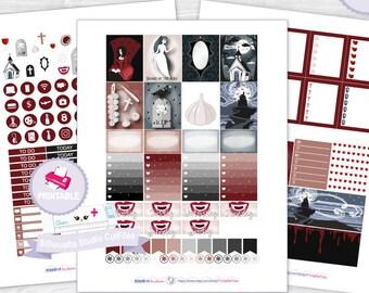 Vampire printable planner stickers, Goth planner stickers, Dark cute weekly kit, cut files, Vampire printable stickers, planner sticker kit