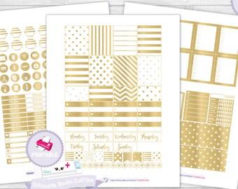 White gold planner kit planner sticker kit erin condren planner stickers planner sticker printable stickers weekly kit erin condren planner