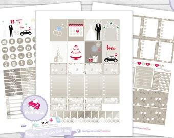 Wedding planner kit wedding planner sticker kit erin condren planner stickers printable stickers planner sticker weekly kit planner stickers