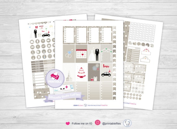 wedding planner stickers mambi sticker kit printable planner etsy
