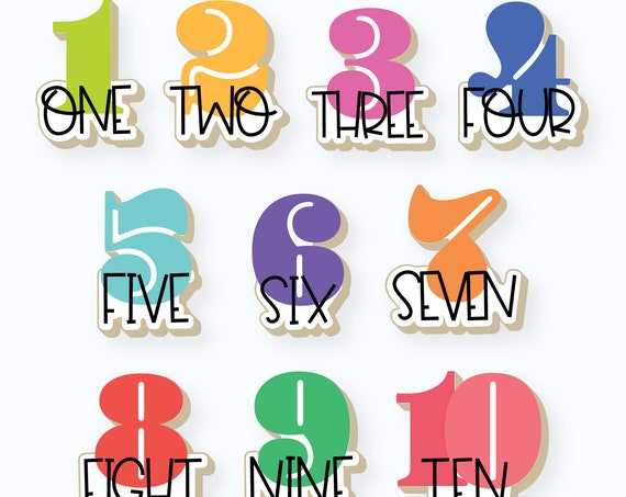 Whimsy Numbers with Text Set   Numbers 1-10 Set