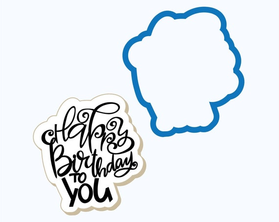 Happy Birthday to You (words) Cookie Cutter | Birthday Cookie Cutter | Plaque Cookies |  Birthday Cookies | Frosted