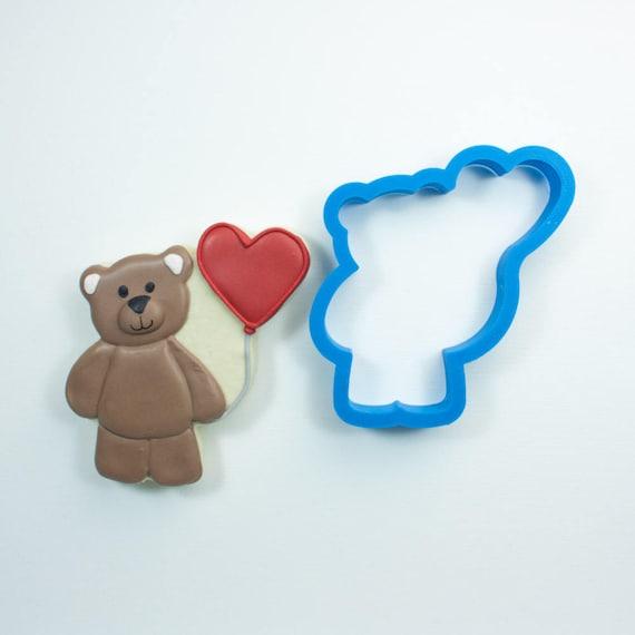 Teddy Bear with Heart Balloon Cookie Cutter | Woodland Cookie Cutters | Bear Cookie Cutters | Bear Shaped Cookie Cutter | Mini Cookie Cutter