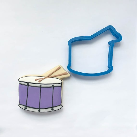 Drum with Drumsticks Cookie Cutter | Mardis Gras Cookie Cutter | Music Cookie Cutter | Unique Cookie Cutter | 3D Cookie Cutter
