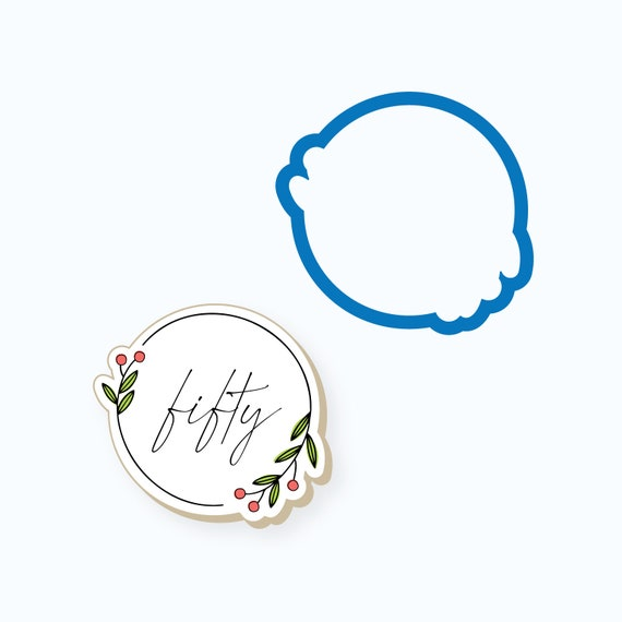 Plaque Cookie Cutter | Simple Circle Floral Plaque Cookie Cutter | Frame Cookie Cutter | Mini Cookie Cutters | FrostedCo