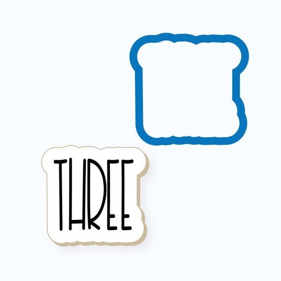 Simple Number Three Plaque Cookie Cutter