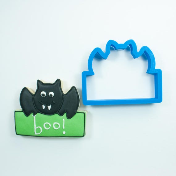 Bat Plaque Cookie Cutter | Bat Cookie Cutter | Halloween Cookie Cutter | Plaque Cookie Cutter | Boo Cookie Cutter | Frosted Cookie Cutter