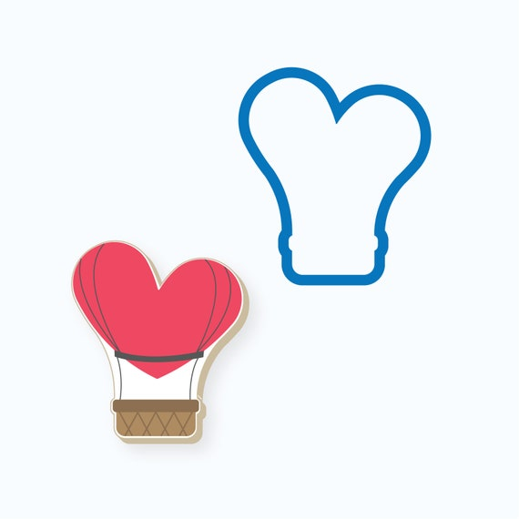 Valentines Cookie Cutter | Heart Hot Air Balloon Cookie Cutter | Heart Cookie Cutter | Hot Air Balloon Cookie Cutter | FrostedCo