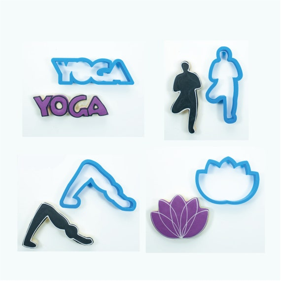 Yoga Set - Downward Dog Pose, Tree Pose, Yoga Word, and Lotus Flower Cookie Cutters