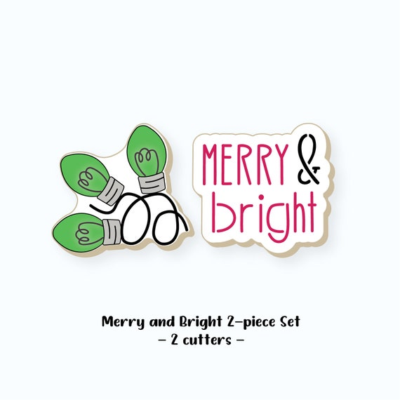 Christmas Cookie Cutters | Merry and Bright Cookie Cutters | Merry and Bright Cookie Cutter Set | Christmas Lights Cookie Cutter | FrostedCo