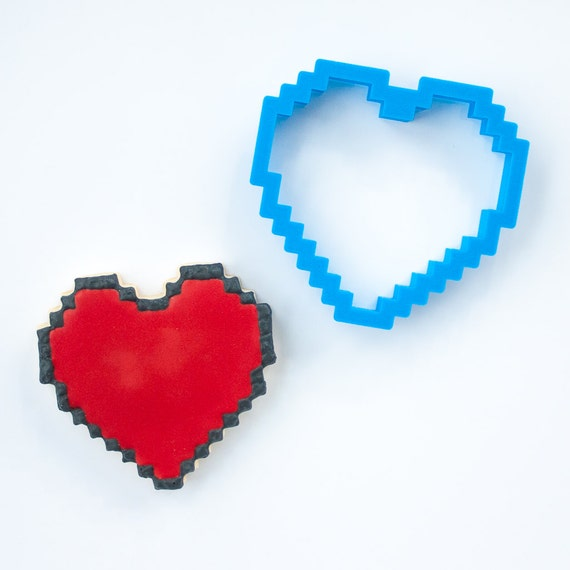 Pixels Heart Cookie Cutter | 8-bit Heart Cookie Cutter | Heart Shaped Cookie Cutter | Heart Cookie Cutters | Unique Cookie Cutters