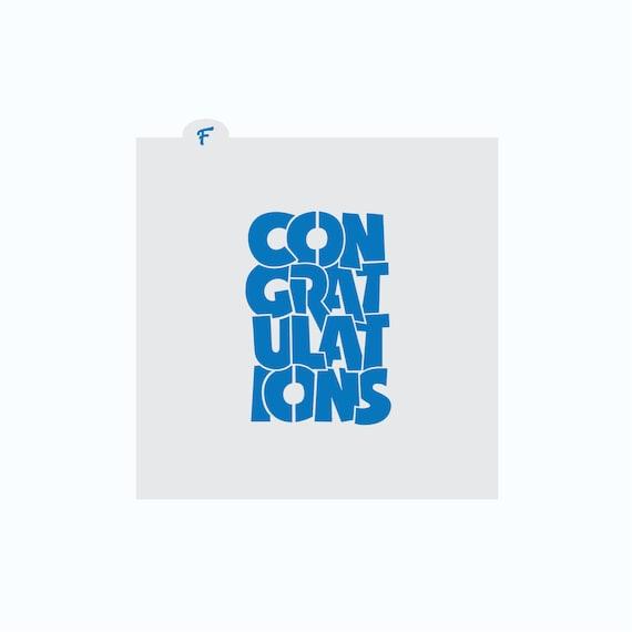 Congratulations Stencil | Congratulations Cookie Stencil | Celebration Cookie Stencil | Cookie Stencil | Congrats Cookie Stencil | FrostedCo