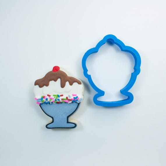 Ice Cream Sundae Cookie Cutter | Ice Cream Cookie Cutter | Sundae Cookie Cutter | Mini Sundae Cookie Cutter | Frosted Cookie Cutters