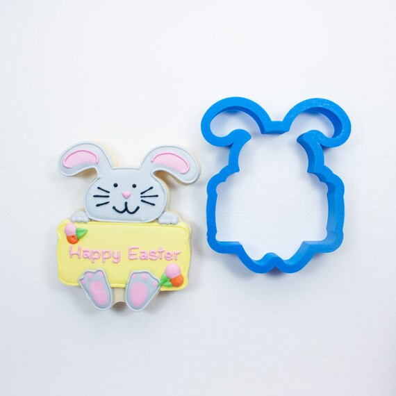 Bunny with Plaque Cookie Cutter | Easter Bunny Cookie Cutters | Easter Cookie Cutters | Plaque Cookie Cutters | Mini Cookie Cutters