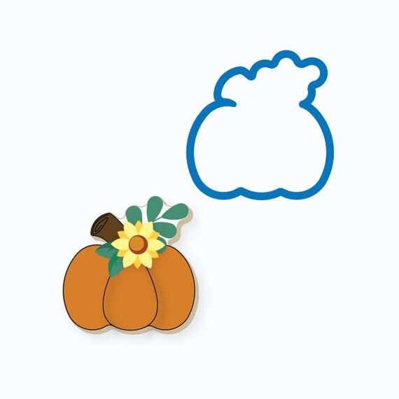 Pumpkin Cookie Cutter | Pumpkin with Greens | Fall Cookie Cutter | Thanksgiving Cookie Cutter | Pumpkin and Greenery
