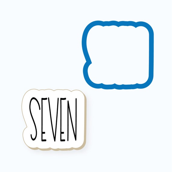 Simple Number Seven Plaque Cookie Cutter
