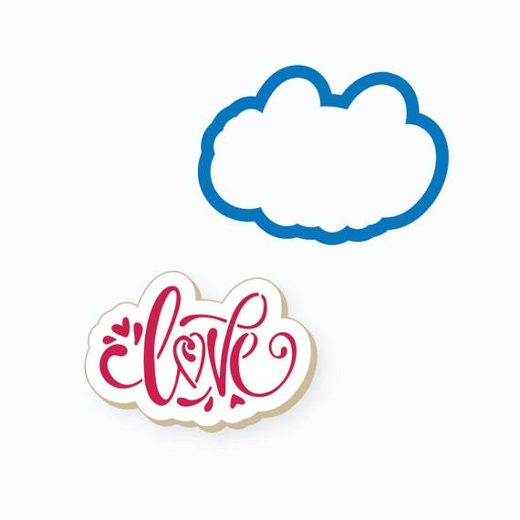 Love Cookie Cutter | Love Plaque Cookie Cutter | Valentines Cookie Cutter | Valentine Cutters | Hand Drawn Love Cookie Cutter | FrostedCo