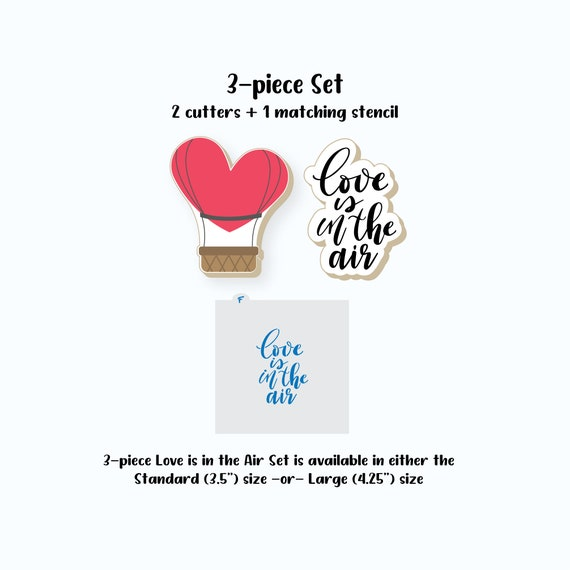 Valentines Cookie Cutters | Love is in the Air Set Cookie Cutters | Hot Air Balloon Cookie Cutter | Plaque Cookie Cutter | FrostedCo