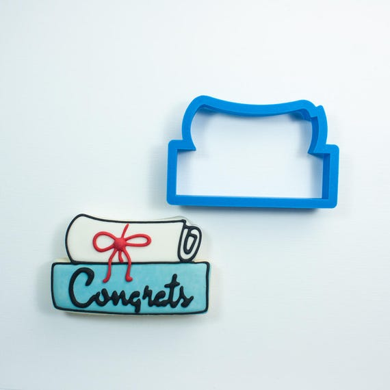 Graduation Diploma Stick Cookie Cutter | Diploma Cookie Cutter | Graduation Cookie Cutter | Mini Diploma Cookie Cutter | Frosted Cookies