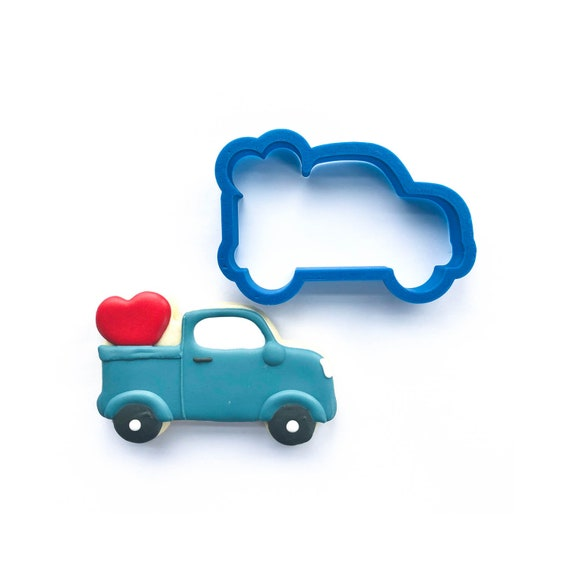 Vintage Truck with Heart Cookie Cutter | Heart Cookie Cutter | Valentine Cookie Cutter | Valentines Cookie Cutter | Unique Cookie Cutters