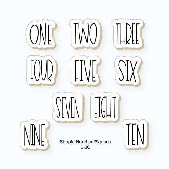 Number Cookie Cutters | Number Set Cookie Cutters | Simple Number Plaques Cookie Cutter Set | Numbers 1-10 Cookie Cutter Set