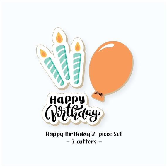 Birthday Cookie Cutters | Happy Birthday Cookie Cutters | Balloon Cookie Cutter | Candles Cookie Cutter | Happy Birthday Cookie Cutter