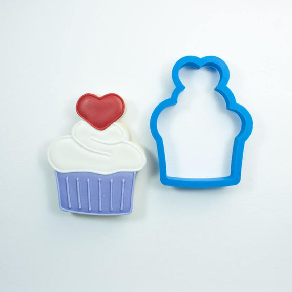 Cupcake with Heart Cookie Cutter | Birthday Cookie Cutter | Cake Cookie Cutter | Mini Cookie Cutter | Cake Cookie Cutter