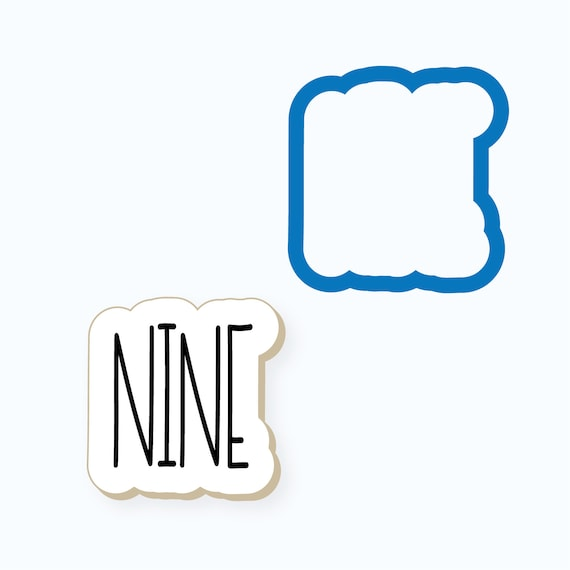 Simple Number Nine Plaque Cookie Cutter