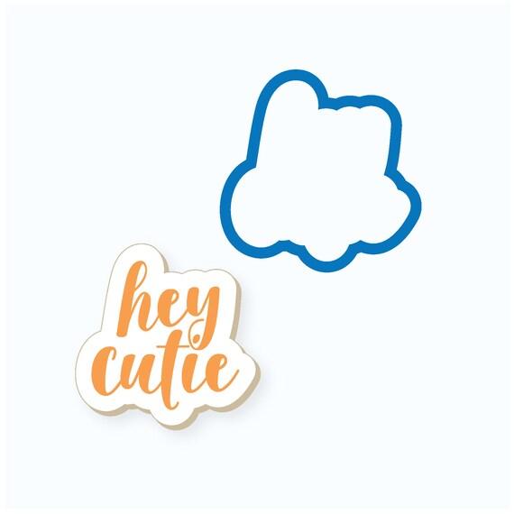 Baby Shower Cookie Cutter   Hey Cutie Plaque Cookie Cutter   Baby Cookie Cutters