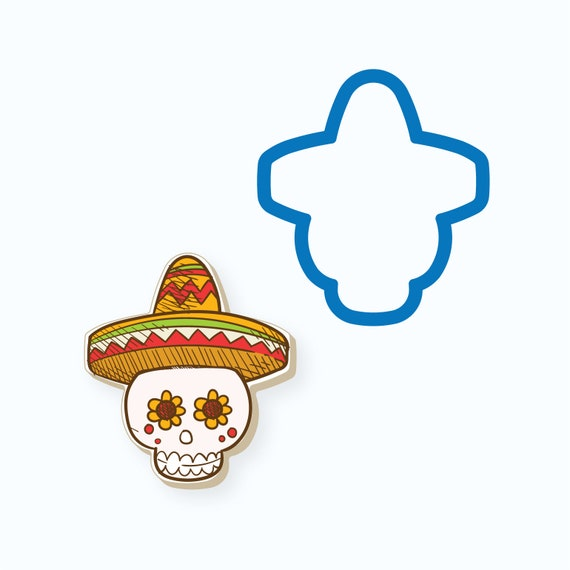 Skull with Sombrero Cookie Cutter | Sombrero Cookie Cutter | Mini Cookie Cutters | Unique Cookie Cutters | Cinco De Mayo Cookie Cutter