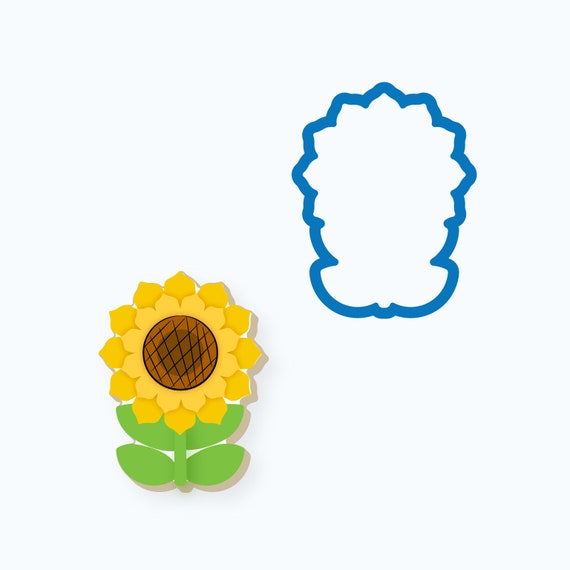Sunflower Cookie Cutter | Sunflower with Leaves | Flower | Fall Flower | Thanksgiving Cookie Cutter
