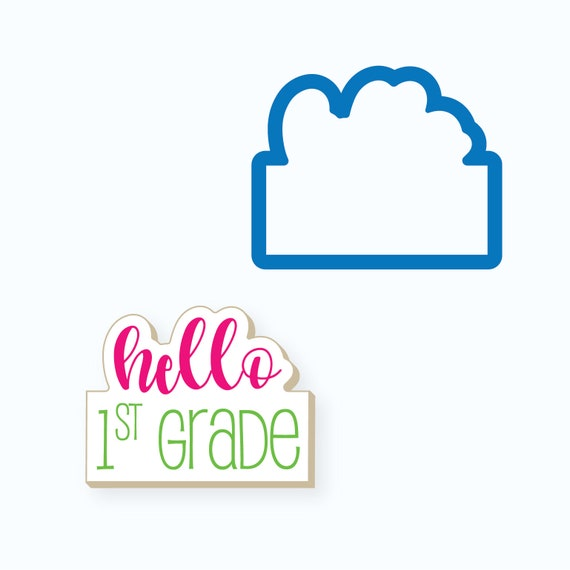 Hello Cookie Cutter   Hello Plaque Cookie Cutter   Celebration Cookie Cutter   FrostedCo