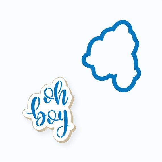 Baby Cookie Cutter | Oh Boy Plaque Cookie Cutter | Baby Shower Cookie Cutter | Plaque Cookie Cutter | Baby Boy Cookie Cutter | Frosted