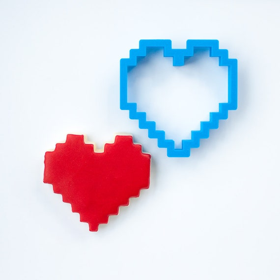 8-Bit Heart Cookie Cutter | Heart Cookie Cutters | Heart Shaped Cookie Cutters | Small Heart Cookie Cutter | Unique Cookie Cutters
