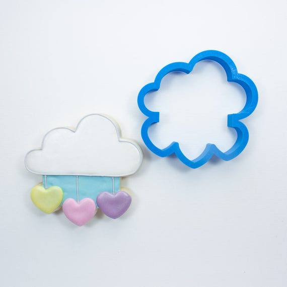 Cloud with Hanging Hearts Cookie Cutter | Cloud Cookie Cutter | Baby Shower Cookie Cutters | Unique Cookie Cutters | Mini Cookie Cutters