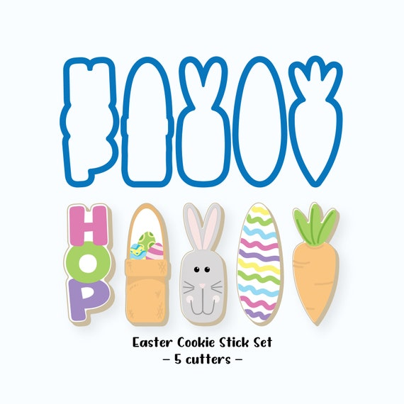 Easter Cookie Cutters | Easter Cookie Stick Cutter Set | Easter Bunny | Easter Basket | Easter Egg | HOP | Carrot | Mini Cookie Cutters