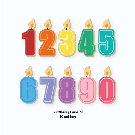 Birthday Cookie Cutters | Birthday Candles Cookie Cutters | Number Cookie Cutters | Number Candle Cookie Cutters | Candle Cookie Cutter