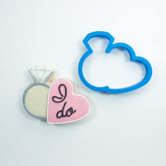Diamond Ring with Heart Cookie Cutter | Wedding Ring Cookie Cutter | Wedding Cookie Cutters | Engagement Cookie Cutters