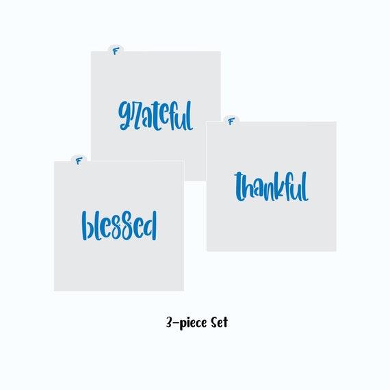 Thanksgiving Stencil, Grateful Thankful Blessed Cookie Stencils, Thanksgiving Stencil Set, Thanksgiving Cookie Stencil, Craft Stencils