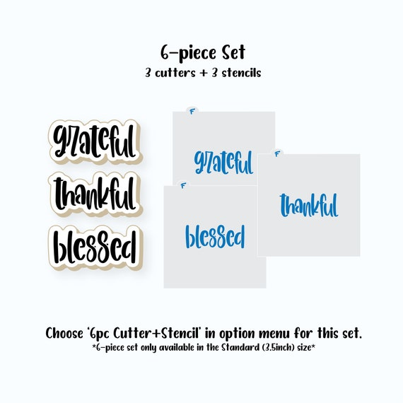 Thanksgiving Cookie Cutters, Grateful, Thankful, Blessed, Cookie Cutter Set, Thanksgiving Cookie Stencils, Thanksgiving Cookie Stencil Set