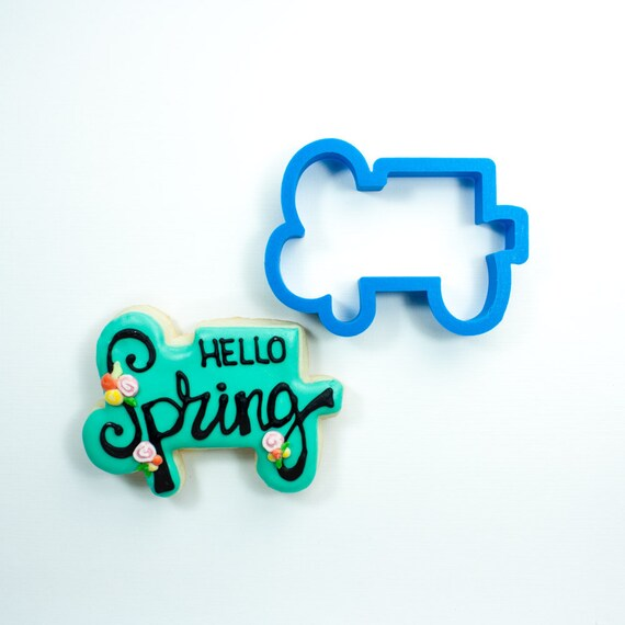 Happy Spring Plaque Cookie Cutter | Spring Cookie Cutters | Typography Cookie Cutters | Plaque Cookie Cutters | Mini Cookie Cutters