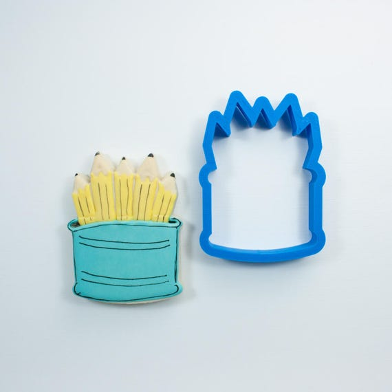 Pencil Holder Cookie Cutter | Pencil Cookie Cutter | Teacher Cookies | Back to School Cookies | Mini Pencil Cookie Cutter