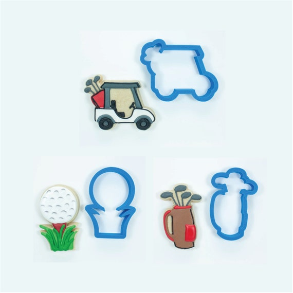 Golf Cookie Cutters | Golf Cookie Cutter Set | Golf Set - Golf Cart, Golf Clubs, and Golf Ball